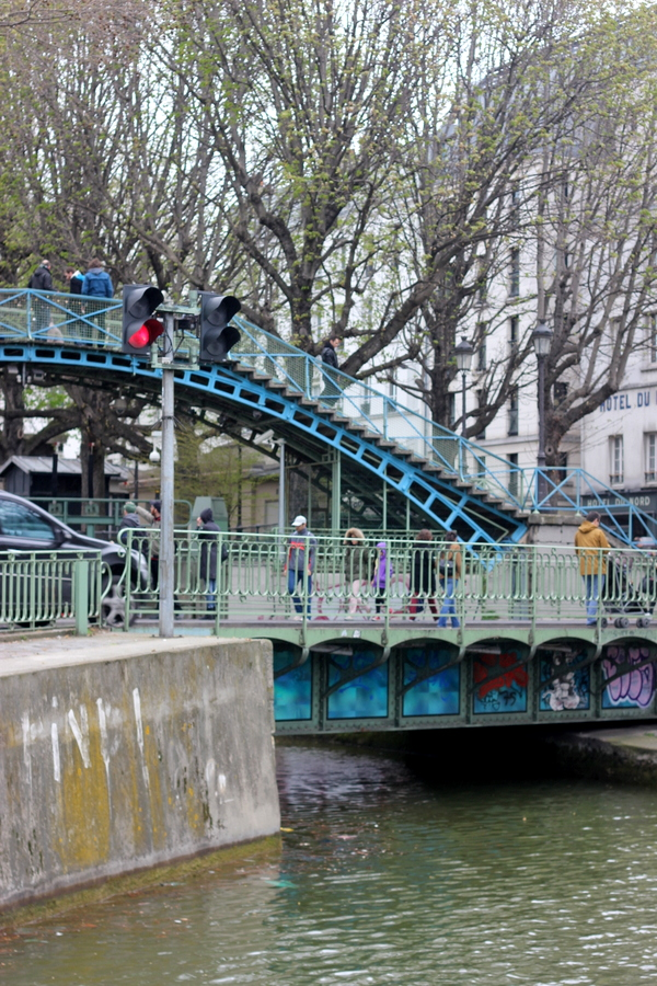 A iron bridge in Canal Saint-Martin, Paris